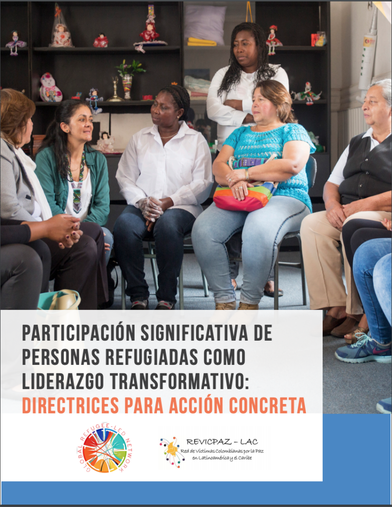 Cover of the meaningful refugee participation guidelines in Spanish