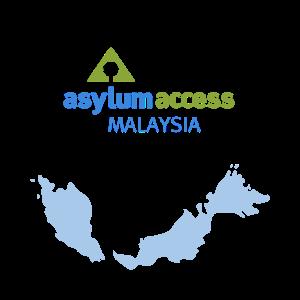 Image shows the Asylum Access Malaysia logo and a map of Malaysia