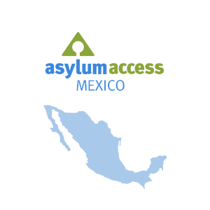 Image shows the logo of Asylum Access Mexico and a map of Mexico