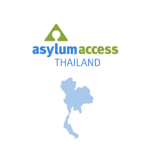 Image shows the logo of Asylum Access Thailand and a map of Thailand