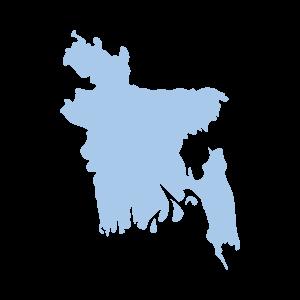 Image shows a map outline of Bangladesh