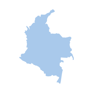 Image shows a map outline of Colombia