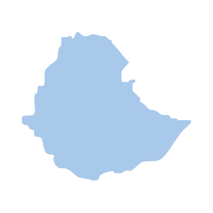 Image shows a map outline of Ethiopia