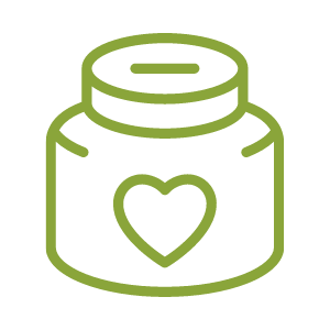 Vector image shows a donation collection jar with a heart on it