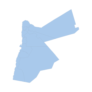 Image shows a map outline of Jordan