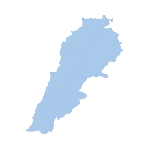 Image shows a map outline of Lebanon