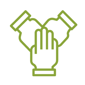 Vector image shows three hands coming together