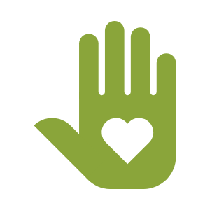 Vector image shows a raised hand with a heart over the palm
